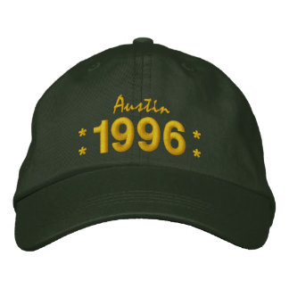 Born in 1996 or Any Year 18th Birthday V07G GREEN Embroidered Hats