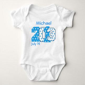 Born in 2013 Big Numbers Blue Stars BOY V03 Baby Bodysuit