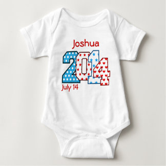 Born in 2014 Big Numbers Blue and Red V01 Baby Bodysuit