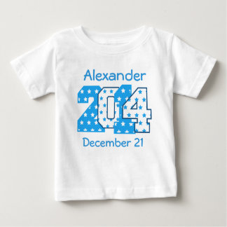 Born in 2014 Big Numbers Blue and White V01 Baby T-Shirt