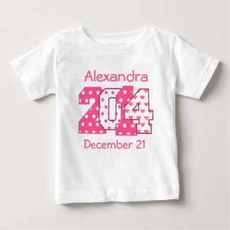 Born in 2014 Big Numbers Pink and White V02A Baby T-Shirt
