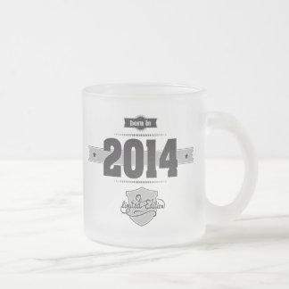 Born in 2014 (Dark&Lightgrey) Frosted Glass Coffee Mug