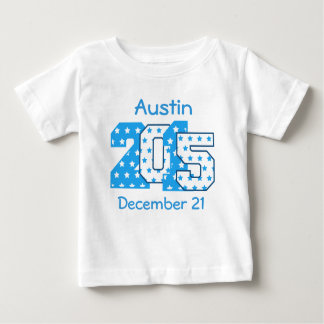 Born in 2015 Big Numbers Blue and White V02 Baby T-Shirt