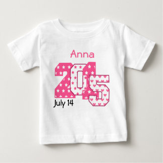 Born in 2015 Big Numbers Pink and White V03 Baby T-Shirt