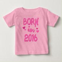 Born in 2016 Baby Girl T-shirt