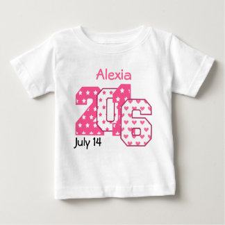 Born in 2016 Big Numbers Pink and White V04 Baby T-Shirt