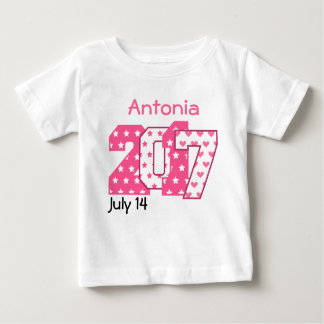Born in 2017 Big Numbers Pink and White V05 Baby T-Shirt