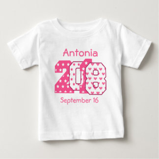 Born in 2018 Big Numbers Pink and White V06 Baby T-Shirt