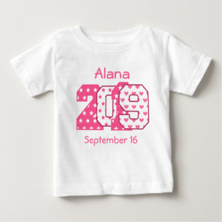 Born in 2019 Big Numbers Pink and White V07 Baby T-Shirt