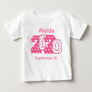Born in 2020 Big Numbers Pink and White V08 Baby T-Shirt