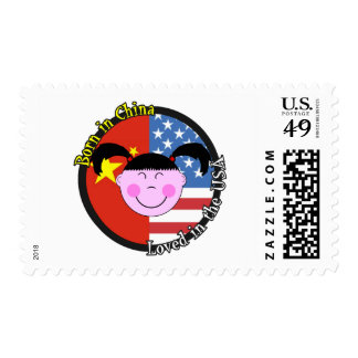 Born in China Loved in the USA Big Girl Stamps
