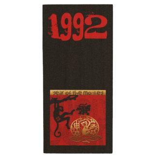 Born in Monkey Year 1992 - Chinese New Year 2016 Wood USB 3.0 Flash Drive