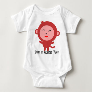 Born in Monkey Year Cartoon Monkey Baby Bodysuit