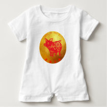 Born in Pig Year 2019 White Baby Romper