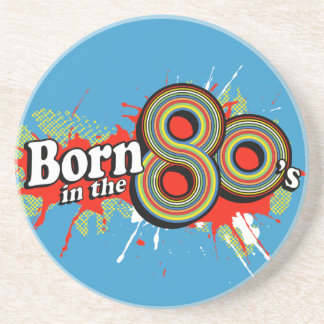 Born in the 80's graphic blue coaster