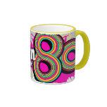 """Born in the 80's"" pink grey logo retro mug"