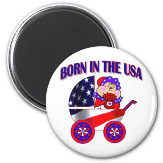 Born in the USA Asian Baby 2 Inch Round Magnet