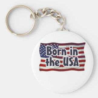 Born in the USA Basic Round Button Keychain