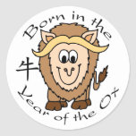 Born in the Year of the Ox Round Stickers