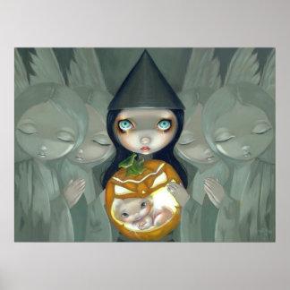 Born of a Pumpkin ART PRINT witch gothic halloween