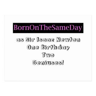 Born on same day as sir isaac newton post card