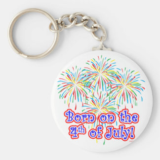 Born on the 4th of July Basic Round Button Keychain