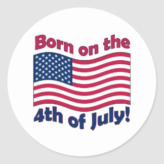 Born on the 4th of Julysticker sheets Classic Round Sticker