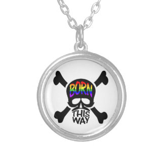 Born This Way Skull & Crossbones Silver Plated Necklace