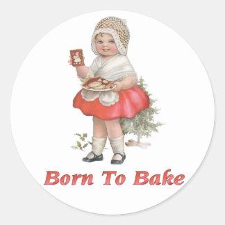 Born To Bake Classic Round Sticker