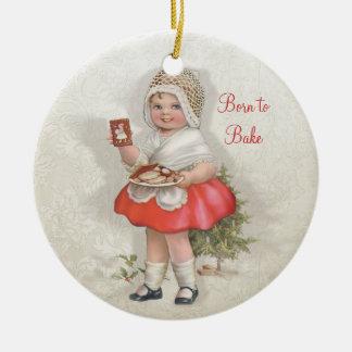 Born To Bake Girl Ceramic Ornament