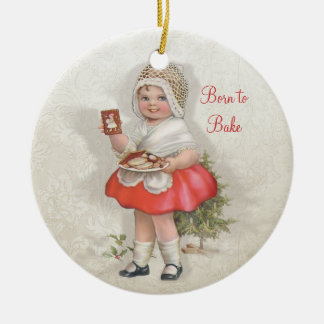 Born To Bake Girl Double-Sided Ceramic Round Christmas Ornament