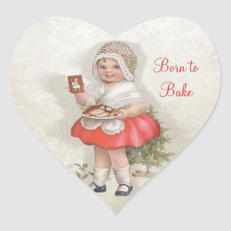 Born To Bake Girl Heart Sticker