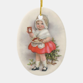 Born To Bake - No Text Double-Sided Oval Ceramic Christmas Ornament