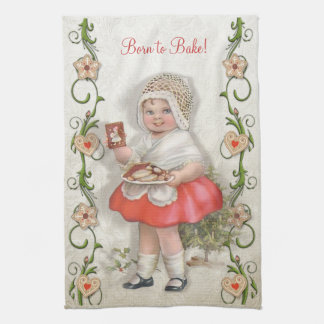 Born to Bake Vintage Girl - Customize Hand Towel
