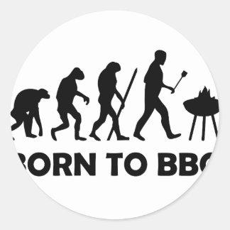 born to bbq classic round sticker