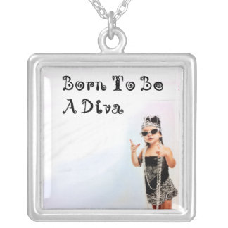 Born To Be A Diva Square Pendant Necklace