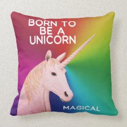 Born to Be a Unicorn Statue Head Magical Rainbow Throw Pillow