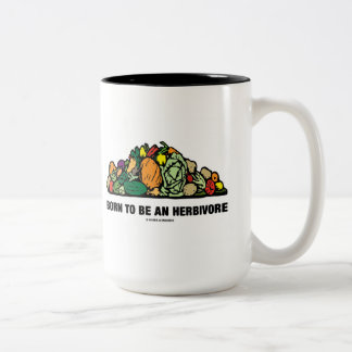 Born To Be An Herbivore (Pile Of Vegetables) Two-Tone Coffee Mug