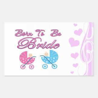 born to be bride bachelorette wedding bridal party rectangular sticker