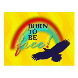 Born To Be FREE   yellow waves Postcard