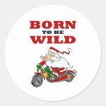 Born to Be Wild Biker Santa Sticker
