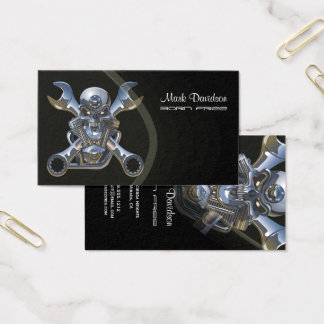 Born to be wild, Motorcycle wrench + skull Business Card