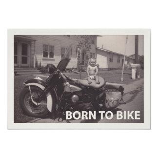 born to bike 3.5x5 paper invitation card