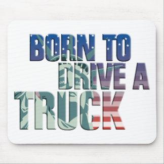 born to drive a truck usa flag trucker mauspad