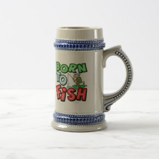 Born To Fish Fishing T-shirts and Gifts Beer Stein