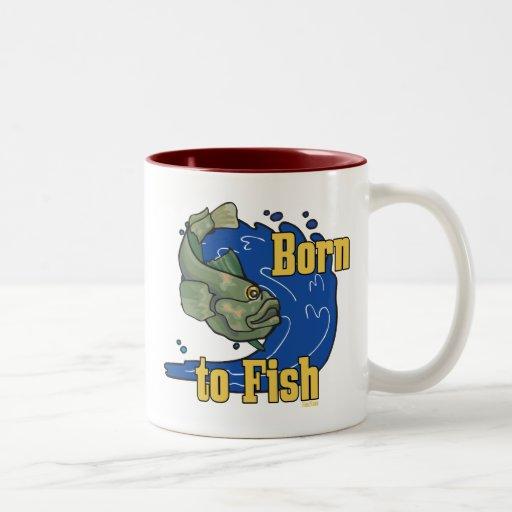 Born to Fish Fishing TShirt Two-Tone Coffee Mug