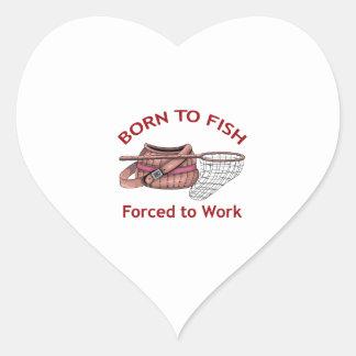 BORN TO FISH HEART STICKER