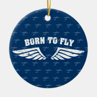 Born To Fly Wings - Blue Ceramic Ornament