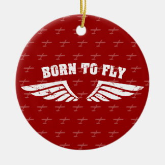 Born To Fly Wings Ceramic Ornament
