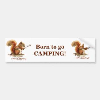 BORN TO GO CAMPING Fun Squirrel Cute Animal Quote Car Bumper Sticker